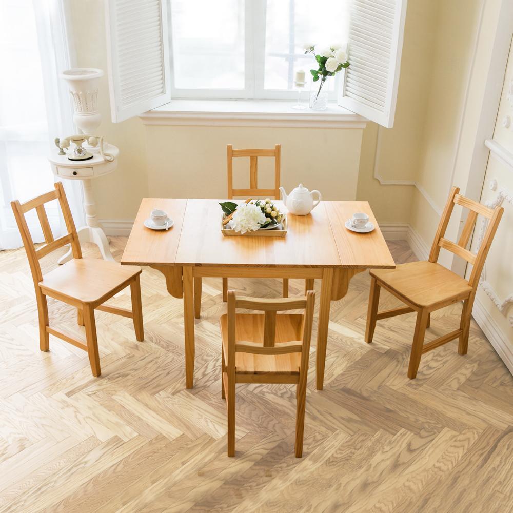 CiS自然行實木家具- 南法雙邊延伸實木餐桌椅組一桌四椅74X122公分/原木+原木椅墊