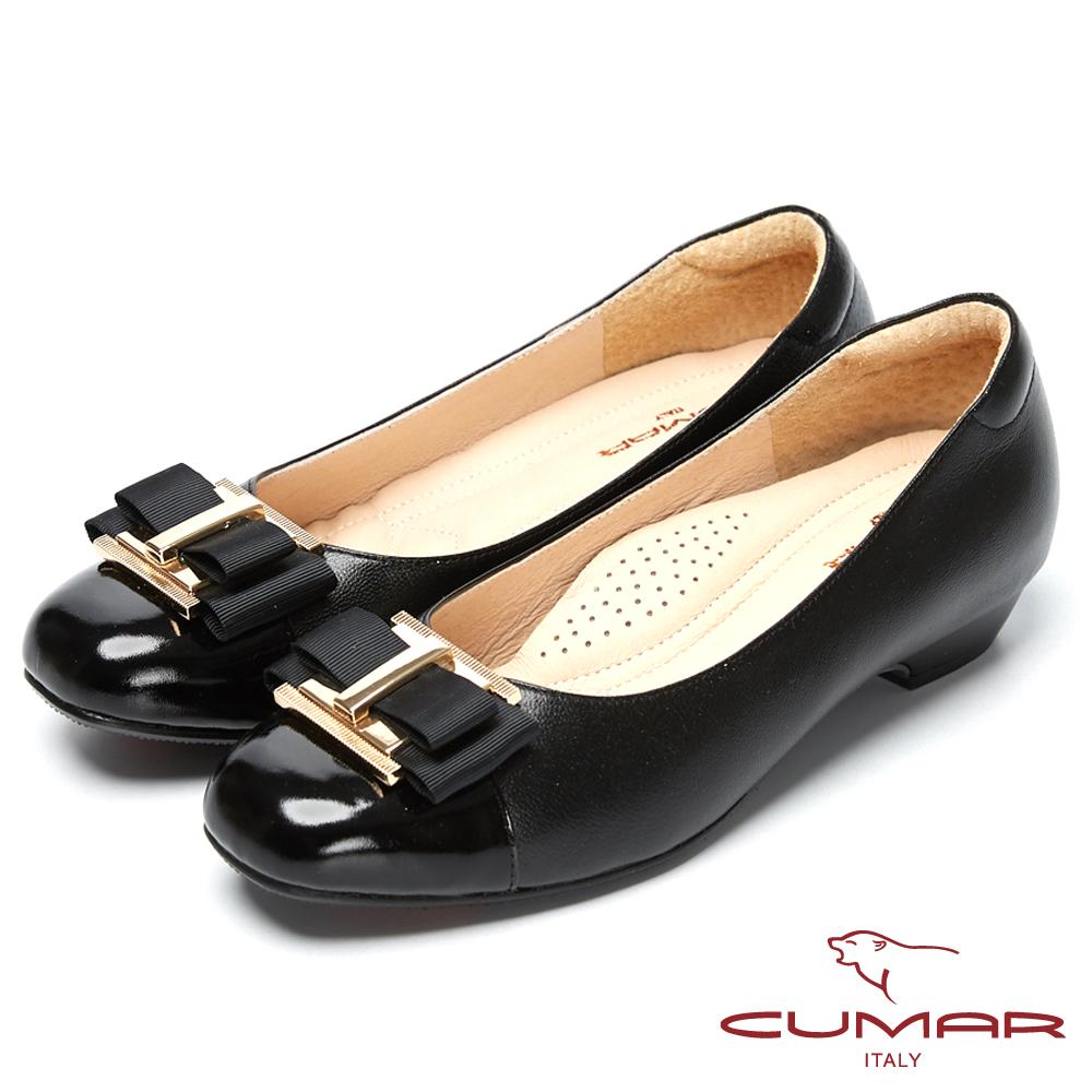 CUMAR粉領時尚-嚴選舒適真皮低跟包鞋-黑色