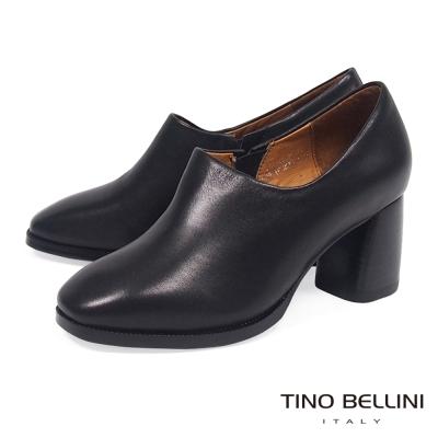 Tino Bellini 極簡原色全真皮高跟踝靴_ 黑