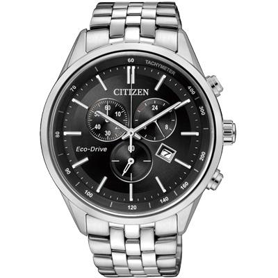 CITIZEN Eco-Drive 商務菁英計時光動能腕錶(AT2140-55E)-黑/42mm
