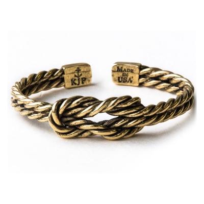 Kiel James Patrick 美國手工船錨幸運水手繩結金色復古仿舊可調整手環
