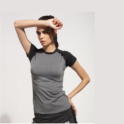 狐狸姬-黑灰拼接運動短袖T恤速乾排汗運動衣(單上衣)