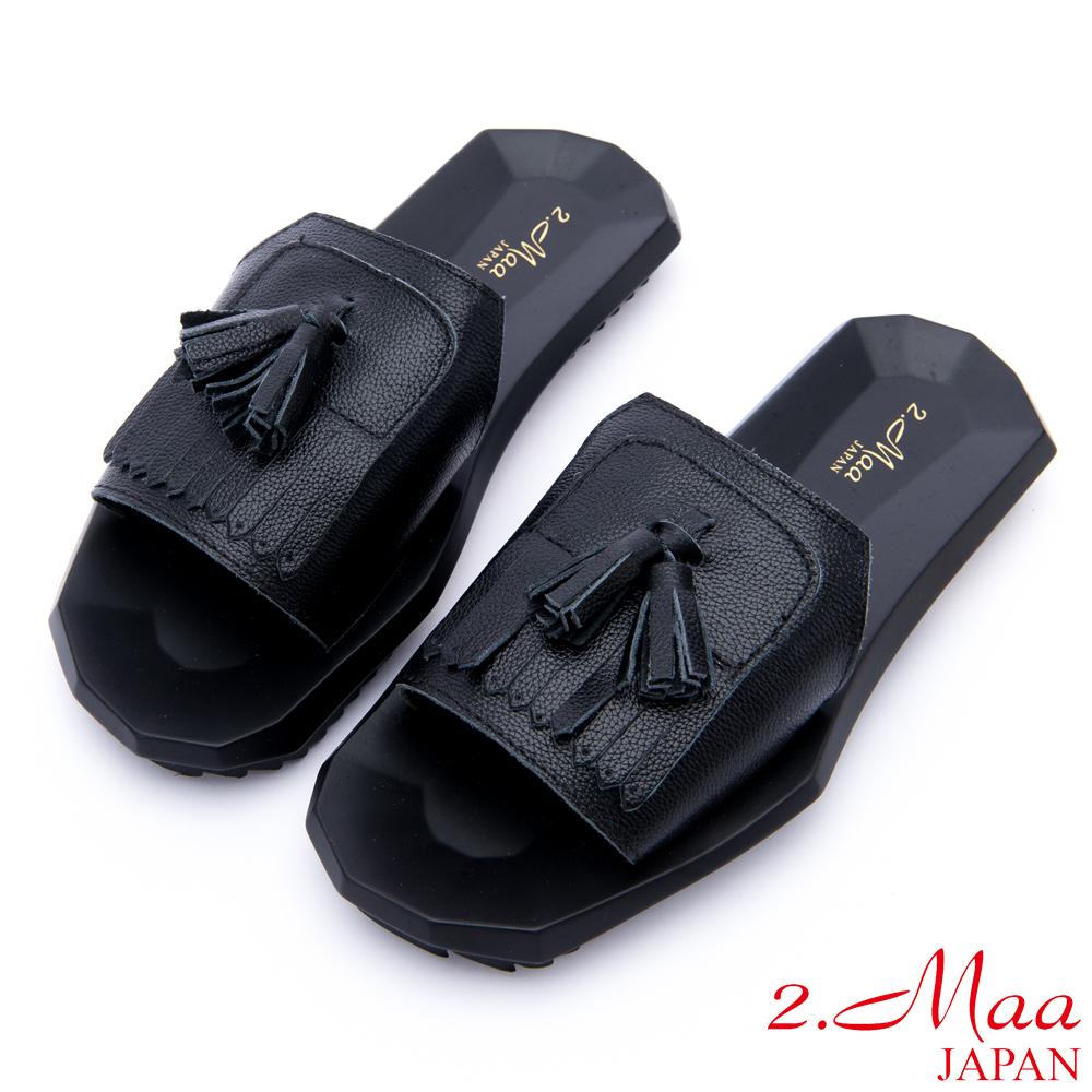 2.Maa - 時尚簡約流蘇牛皮方塊拖鞋 - 黑