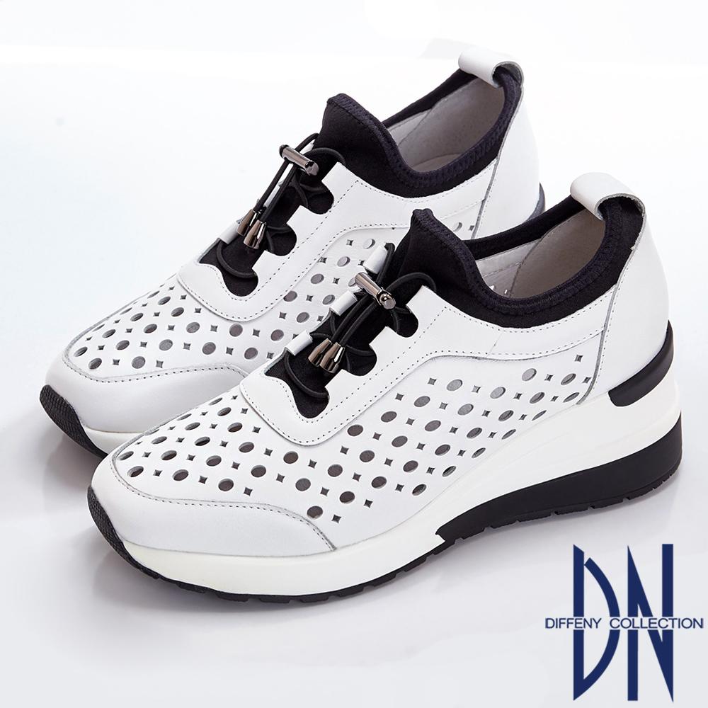 DN 運動潮流 趣味造型鏤空厚底休閒鞋-白