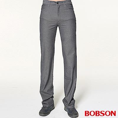 BOBSON 男款人字斜紋伸縮直筒褲
