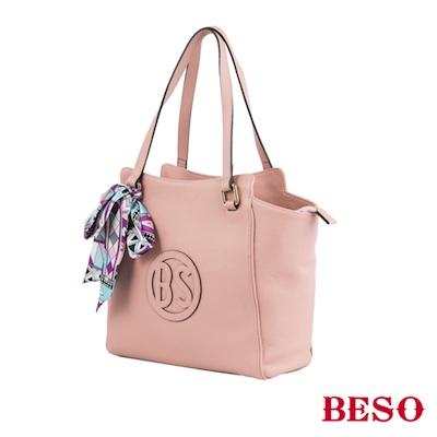BESO 青春花漾 絲巾綁帶真皮2way背包~粉紅