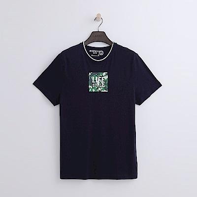 Hang Ten - 男裝 - 有機棉 迷彩方格T恤-藍色