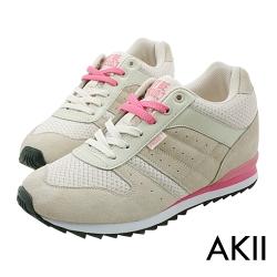 AKII韓國空運‧玩色系列內增高休閒運動鞋-卡其