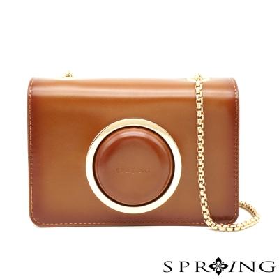 SPRING-Vintage-相機牛皮鏈包-棕色