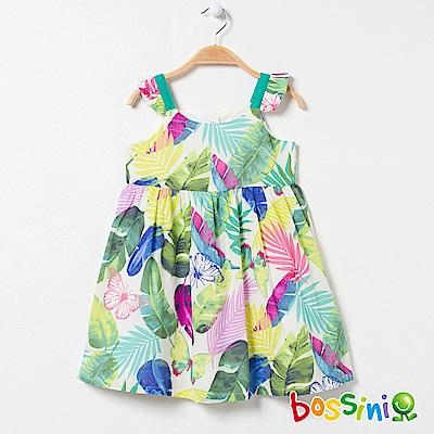 bossini女童-印花連身洋裝橄欖綠