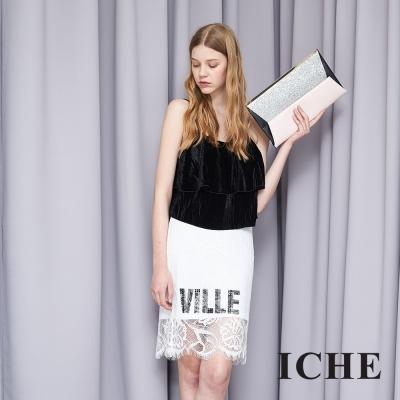 ICHE 衣哲 蕾絲字母印花拼接時尚造型短裙