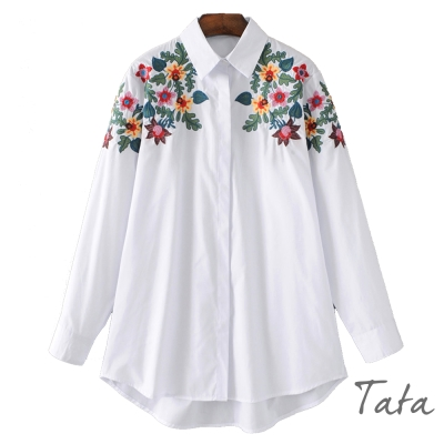 寬鬆花朵刺繡襯衫-TATA