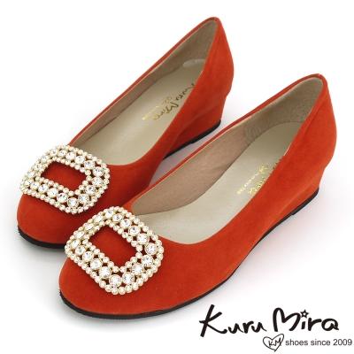 Kuru-Mira台灣製-閃亮方釦水鑽楔型跟鞋-橘