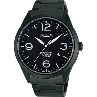 ALBA 街頭玩酷時尚藍寶石水晶腕錶(AS9763X1)-IP黑/44mm
