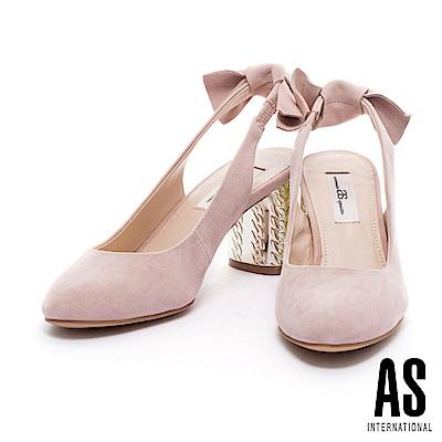 高跟鞋 AS 優雅質感紋理鞋跟點綴蝴蝶結後帶圓頭高跟鞋-米