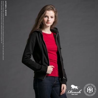 Roush 女生合身版純色刷毛連帽外套 (4色)