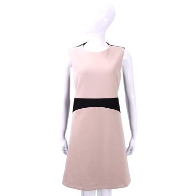 SI-JAY 粉x黑色拼接剪裁無袖洋裝