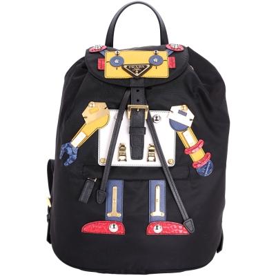 PRADA Nylon Robot 機器人圖案尼龍後背包(中/黑色)