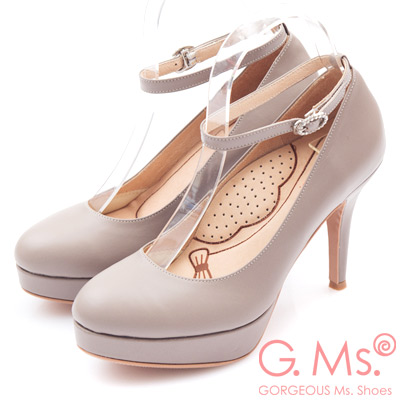 G.Ms.  好穿進化-MIT牛皮2way厚底高跟鞋-霧可可