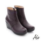 A.S.O 紓壓氣墊 真皮鏤空花紋奈米楔型鞋 紫色