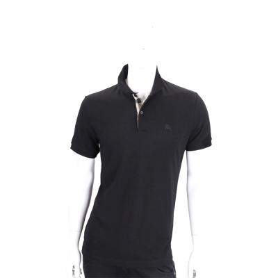 BURBERRY 格紋開襟網眼棉質POLO衫(男款/黑色)