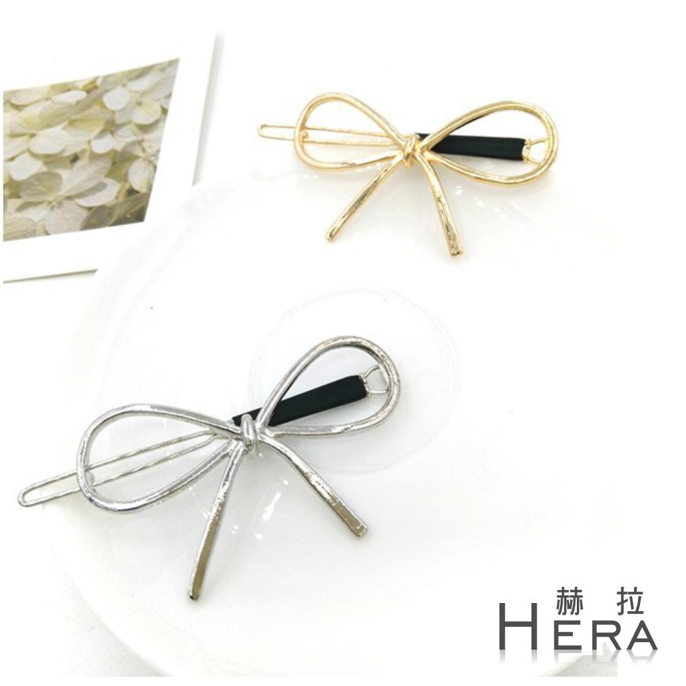 Hera 赫拉 鏤空線條金屬蝴蝶結邊夾/髮夾/髮扣