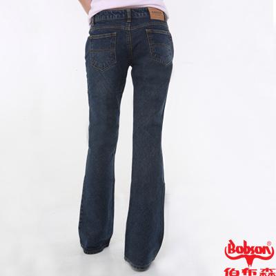 【BOBSON】女款中腰45度斜紋布面貓鬚痕喇叭牛仔褲(藍53)