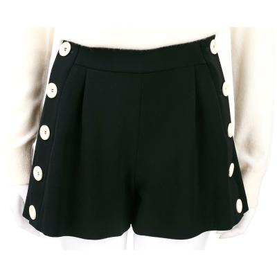BOUTIQUE MOSCHINO 黑色側邊排釦設計寬口褲