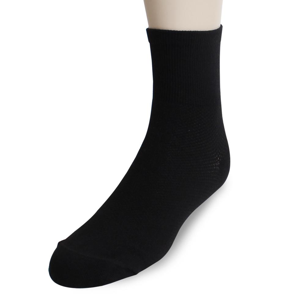 裕發 90°直角不滑落透氣網孔1/2休閒襪(20~24cm)3入-黑
