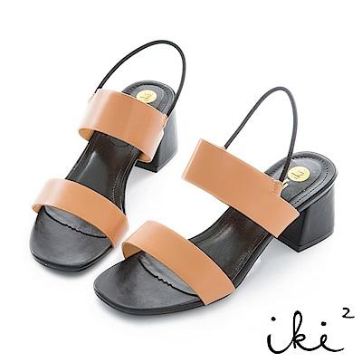 iki2 簡約一字鬆緊繫帶低跟涼鞋-咖
