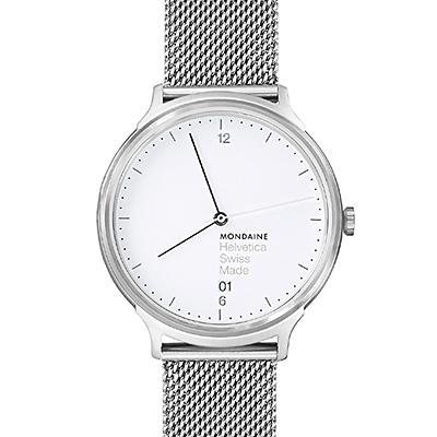 MONDAINE 瑞士國鐵Helvetica 聯名腕錶-白x米蘭錶帶/38mm