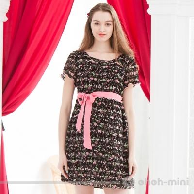 【ohoh-mini 孕婦裝】浪漫小碎花綁帶蝴蝶結洋裝