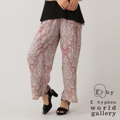 E-hyphen-復古變形蟲花紋腰際鬆緊綁帶寬褲