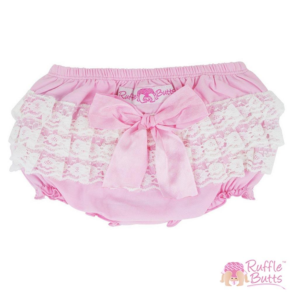 RuffleButts 小女童大蝴蝶結蕾絲荷葉邊包屁褲-粉色款