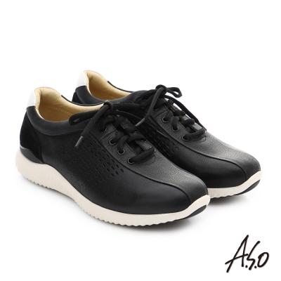 A.S.O 3D超動能 真皮沖孔奈米綁帶休閒男鞋 黑色