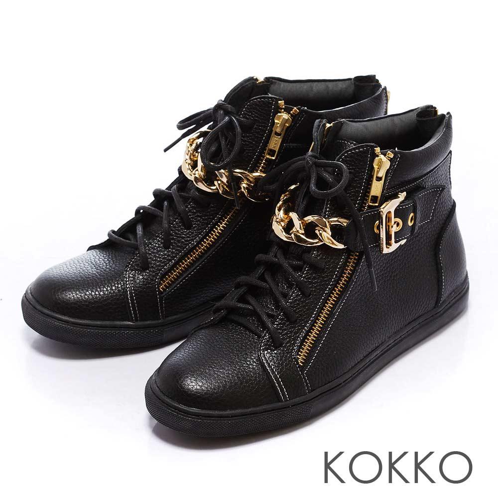 KOKKO運動時尚-金屬鍊率性短靴 - 純黑