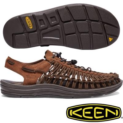 KEEN Uneek Leather 男戶外編織皮革涼鞋 1017877 咖啡