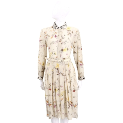 Max Mara-WEEKEND 卡其色花卉絲質襯衫式洋裝