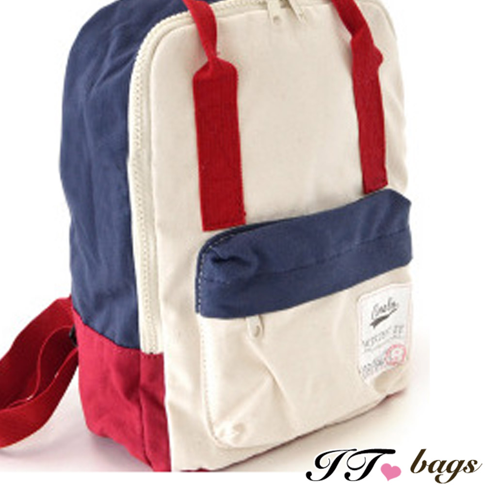It Bags 後背包 青春年代撞色帆布方型後背包 共四色