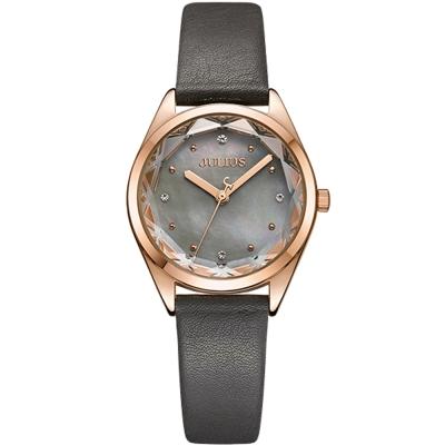 JULIUS聚利時 星之守護貝殼面皮帶腕錶-深灰/29mm
