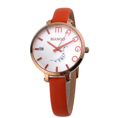 MANGO 日月燦爛時尚腕錶-白x橘/34mm