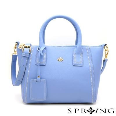 SPRING-微漾甜心車縫手提包-藍