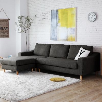 H&D 雨果簡約舒適3+凳L型布質沙發-三色可選