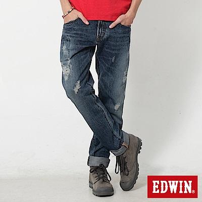 EDWIN 505重破壞窄直筒牛仔褲-男-石洗藍