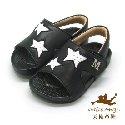 天使童鞋-C2410 小M星星款涼鞋(小童)-黑