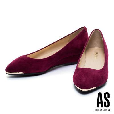楔型鞋-AS-金屬風羊麂皮尖頭楔型鞋-紅
