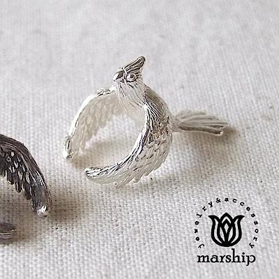 Marship 日本銀飾品牌 爪哇禾雀耳環 文鳥耳骨夾 925純銀 亮銀款