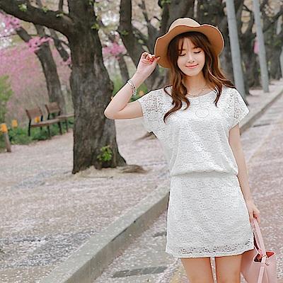 純色花蕾絲腰鬆緊設計洋裝-OB大尺碼