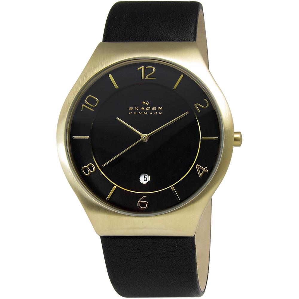 SKAGEN Grenen 紳士同盟輕薄皮革腕錶-黑x金/40mm