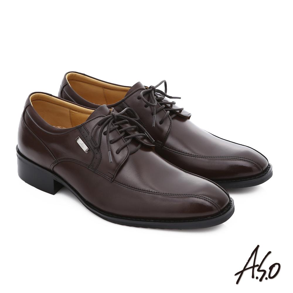 A.S.O 輕旅健步 小牛皮綁帶奈米紳士皮鞋 咖啡